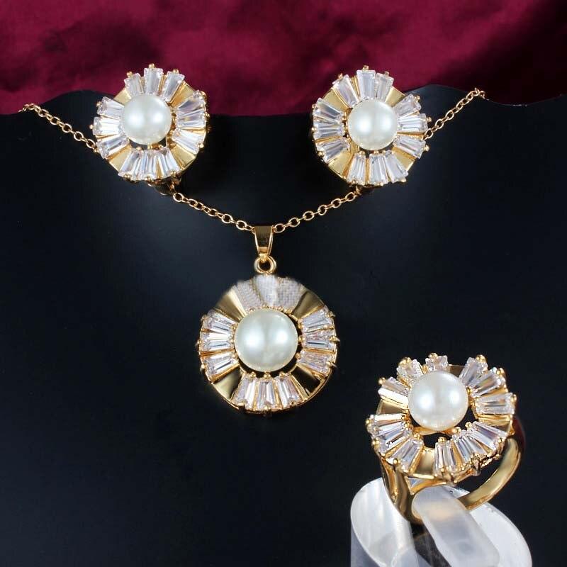 Ensemble de bijoux de mariage de mariée élégante meselected Zircon perle or collier boucles d'oreilles anneau de fête femmes accessoires de luxe africains cadeaux