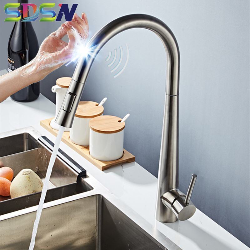 Brushed Kitchen Faucet SDSN Smart Touch Kitchen Faucets Pull Out Kitchen Mixer Tap 304 Stainless Steel Sensor Kitchen Faucets