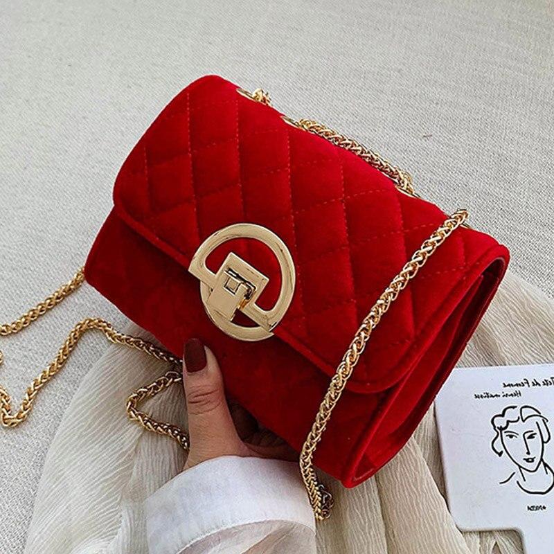 Designer Women's Plaid Small Square Bag 2020 New High Quality Velvet Women Handbags Lock Chain Female Shoulder Messenger Bags