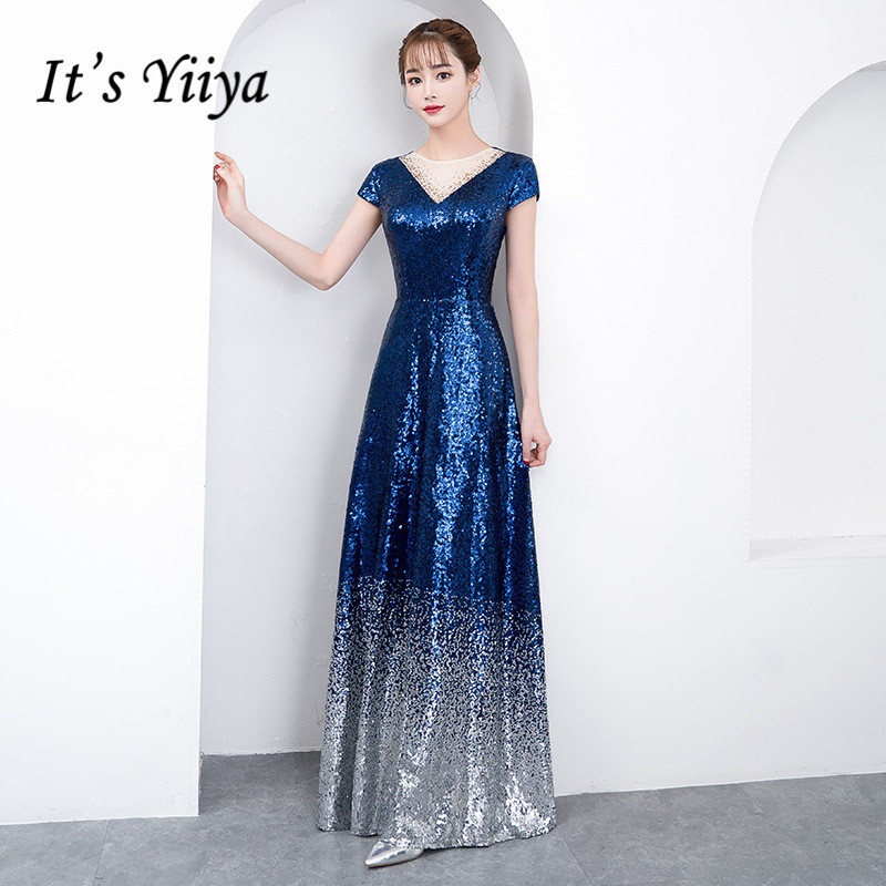 It's Yiiya Sparkle Sequined Evening Gown Gradient Cyrstal Formal Party Vestidos O-neck Robe De Soiree A-line Prom Dress K228