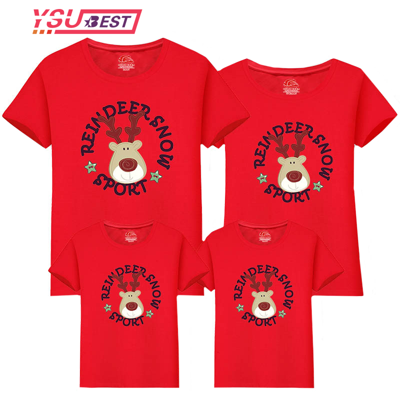 2019 Family Christmas T-Shirt Family Look Dad And Son Family Matching Clothes Christmas Deer T-shirt For Daddy Mommy Kids Baby