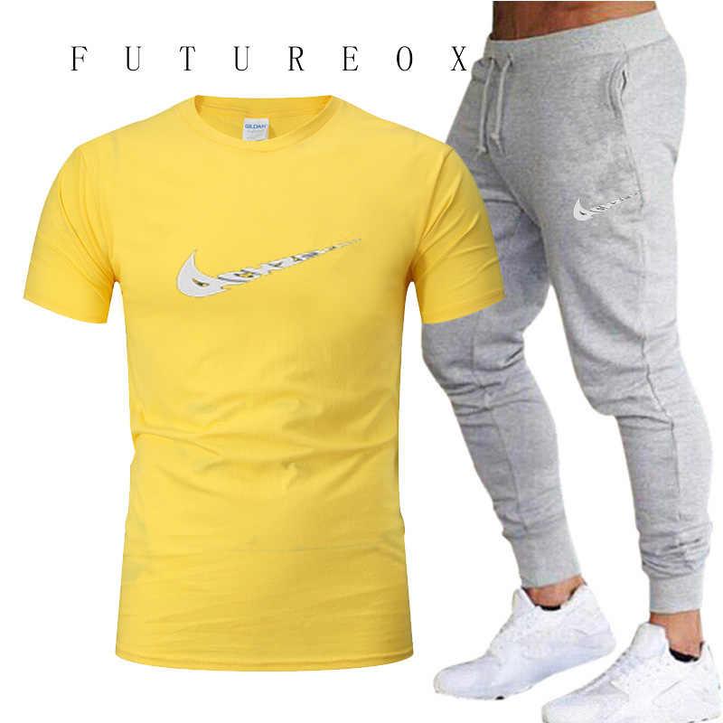 2019, мужские комплекты для бега, быстросохнущие, дышащие, Т-шорты + свободные, стрейчевые, мужские спортивные штаны, для бега, для тренировок, для спортзала, фитнеса, летняя спортивная одежда