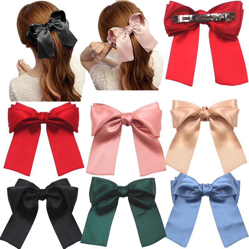 Vintage Fashion Satin Bow Ribbon Hair Clip Korean Headwear Spring Ponytail Clip Simple Hairpins Woman Head Flower Gift