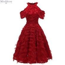 Misshow вечернее платье красное с кисточками короткое формальное вечернее платье ТРАПЕЦИЕВИДНОЕ с глубоким вырезом без рукавов robe de soiree