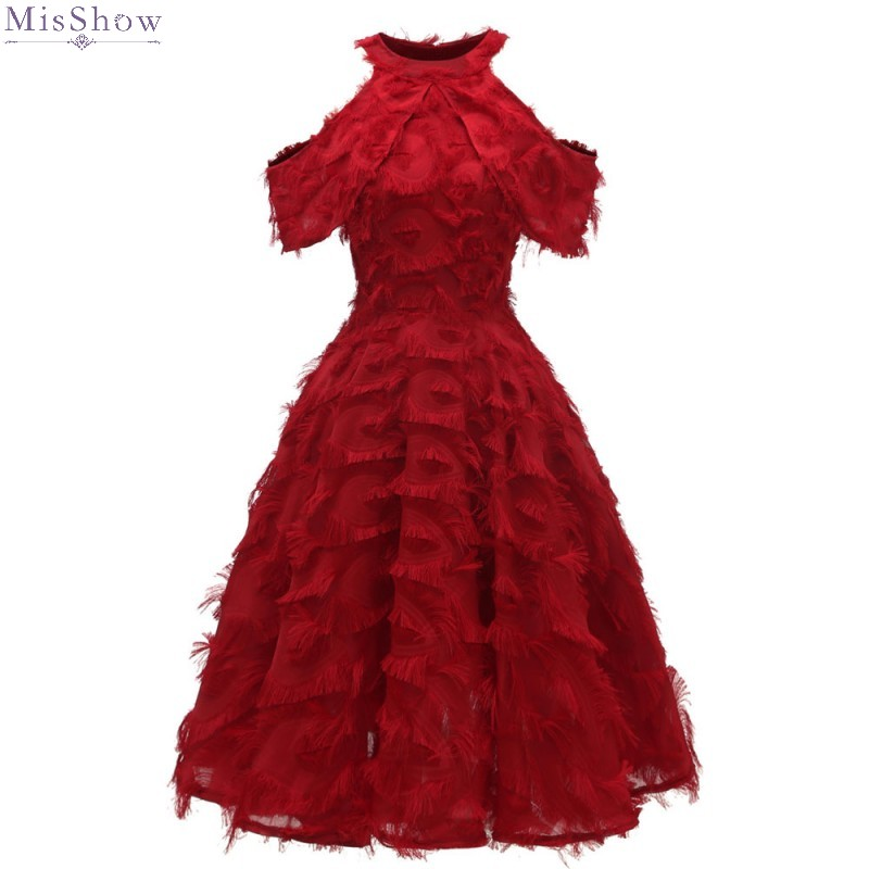 Misshow Evening Dress 2019 Red Tassel Short Formal Party Gown A Line Scoop Neck Sleeveless Robe De Soiree