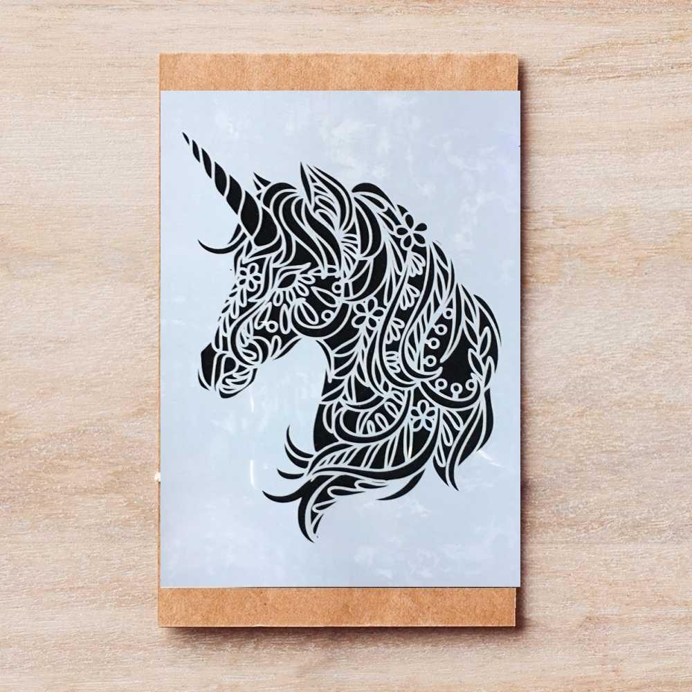 A23 Mandala Einhorn Pferd DIY Schichtung Schablonen Malerei Sammelalbum  Färbung Präge Album Dekorative Vorlage 23*23cm