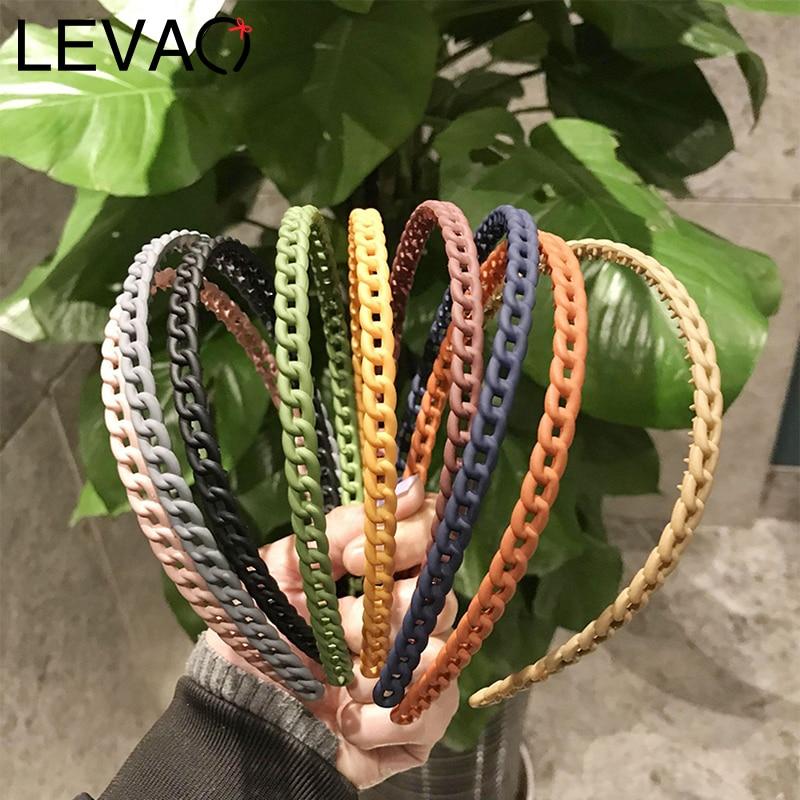 LEVAO Simple Matte Solid Color Head Hoop Chain Hair Accessories Girls Women Hollow Bezel Turban Headwear Headband Hairband Lady