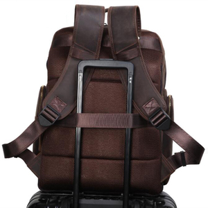 Image 5 - MAHUE Leather Backpack With Collapsible Chair Large Capacity Leather Backpack For 17 Inch Laptop Top Layer Cowhide Travel Bag
