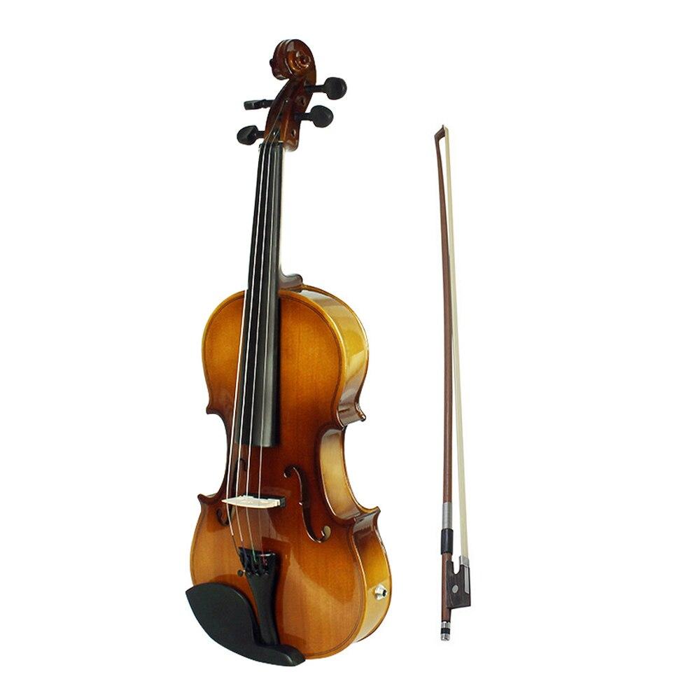 4/4 Kit de violon électrique EQ acoustique pleine taille en bois massif Face en épicéa avec des cordes supplémentaires chiffon propre rétro coucher de soleil
