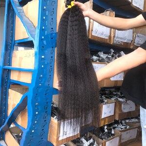 Queenlife 30 32 34 36 дюймов кудрявые прямые пряди бразильских волос пряди человеческих волос яки прямые волосы 1/3/4 пряди Волосы Remy ткань