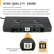 3.5mm Four Channel Anti-Tangled Mini ABS Stereo Input Cassette Adapter Car Audio- For i-phone For Type-c Interface Phone