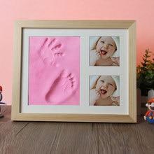 New DIY Baby Hand&Foot Print Casting Kit Newborn Non Toxic Handprint Footprint 3 Photo Frame Children's Growth Memorial Gifts