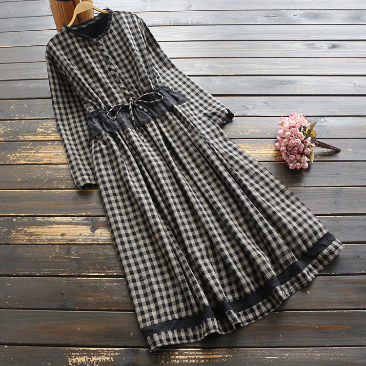 Women Dress Plaid Cotton 2020 Spring Vintage Draw Waist Long Sleeve O Neck Lace Mori Girl Fashion Women Robe Dresses Aliexpress