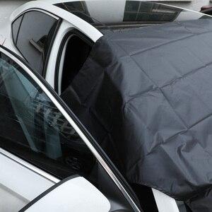 Image 4 - Güçlü mıknatıslı araba kar blok kapak gümüş bez manyetik kar buz kalkanı cam kış araba ön pencere