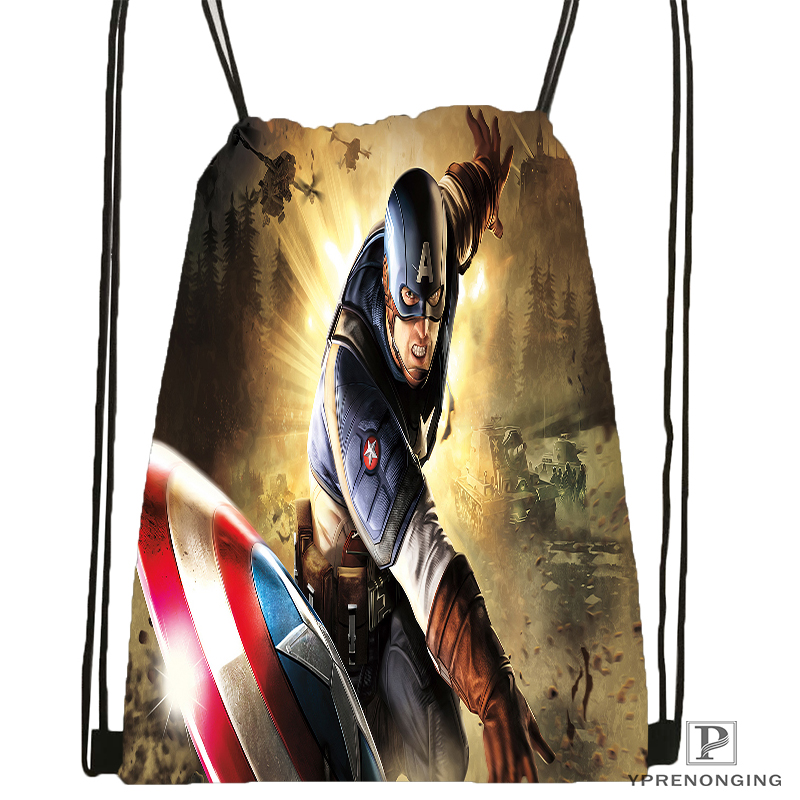 Custom Captain America Avenger Drawstring Backpack Bag For Man Woman Cute Daypack Kids Satchel (Black Back) 31x40cm#180531-01-06