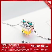 Thaya Farbe Licht Bogen Geschenk Halskette 925 Silber Böhmen Interessant Farbe Prisma Halskette für Frauen Spezielle Design Schmuck