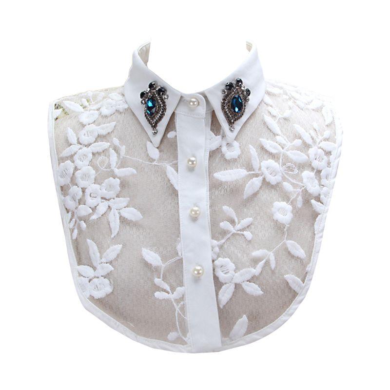 Women Faux Crystal Lapel Detachable Half-Shirt Imitation Pearls Lace Fake Collar