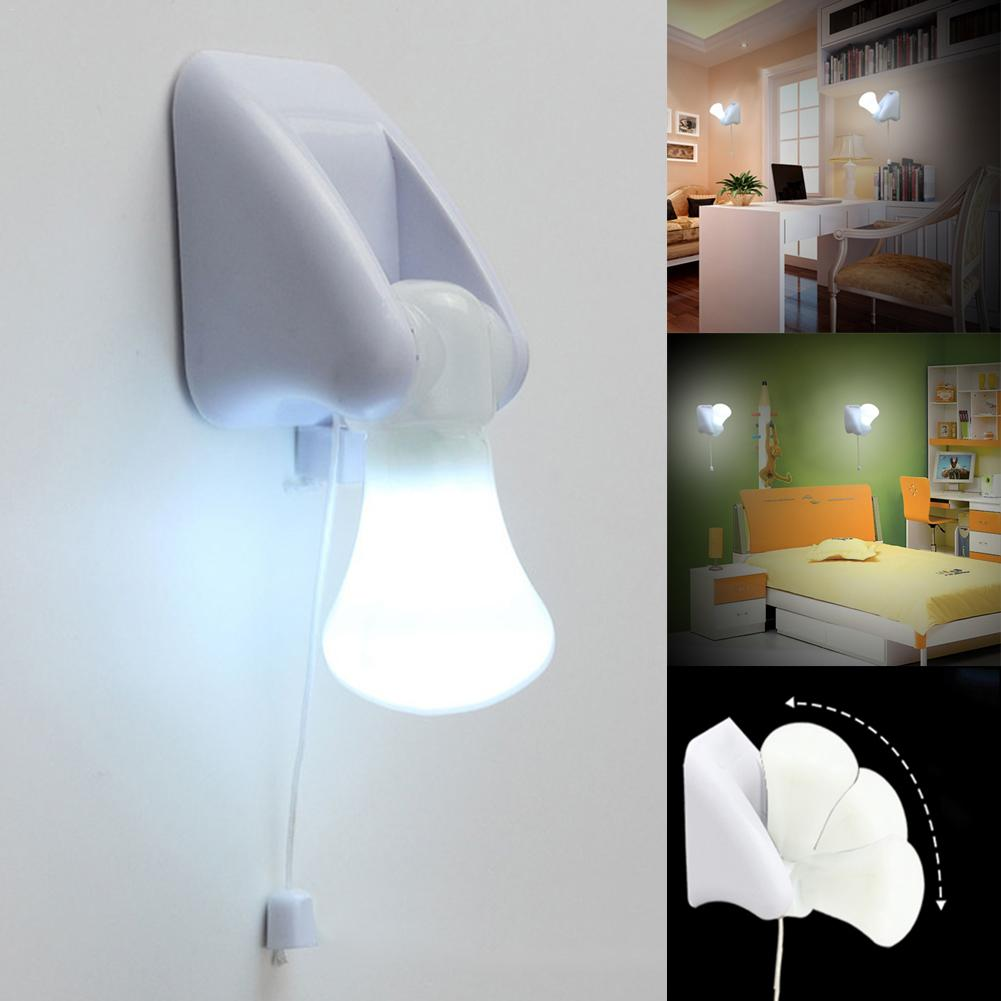 3LED Pull-String Smart Bedside Cabinet White Night Lights Lamps Portable And Easy To Install Bedside Led Bulb