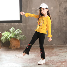 Kids Embroidered Outfits for Teenage Girls Long Sleeve Clothes Sets Girls School Shirts & Pants Suits Big Size Children Clothing children clothes knit 2pcs set age for 4 14 yrs teenage girls winter thick warm school style outfits long sleeve sweater pants