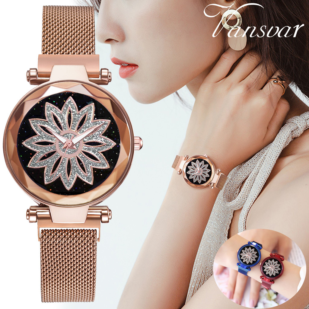 Fashion Women Good Luck Rose Gold Flower Wrist Watches Starry Sky Quartz Magnetic Buckle Stainless Steel Belt Ladies Watch Reloj