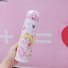 500ml New Sailor Moon Cartoon Vacuum Flask Action Figure Printed Stainless Steel Tsukino Usagi Water Bottle Portable Thermos Cup