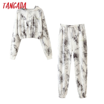 Tangada fashion 2020 women tie dye print oversize pants set two-piece suits female matching sweat QW3 - discount item  30% OFF Women's Sets