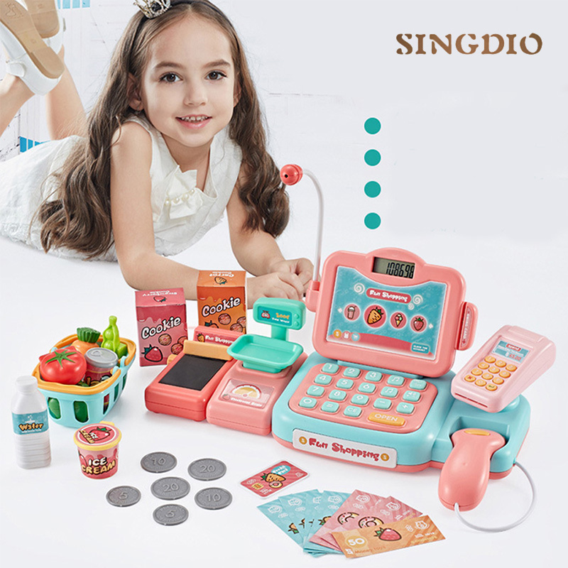 Supermarket Mini Shopping Simulation Electronic Register Kids Toy Play Cash Register Machine Shop Playset Checkout Counter Toys