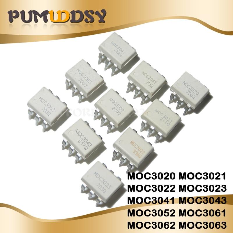 10PCS MOC3020 MOC3021 MOC3022 MOC3023 MOC3041 MOC3043 MOC3052 MOC3061 MOC3062 MOC3063 DIP6 DIP Optocoupler New And Original IC