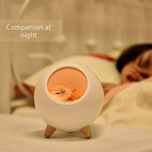 Image 4 - キティの夜の光クレア 電性ガールギフトの寝室のベッドサイドランプ睡眠摂食ランプ充電 led 周囲光