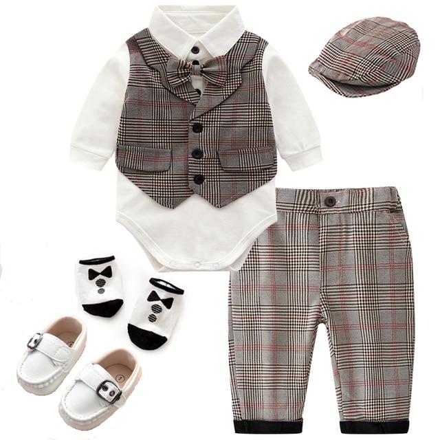 Dziecko Gentleman strój niemowlę dziecko chłopców ślubne formalne odzież zestaw maluch prezent urodzinowy garnitur w kratę koszula spodnie kostium 5 sztuk