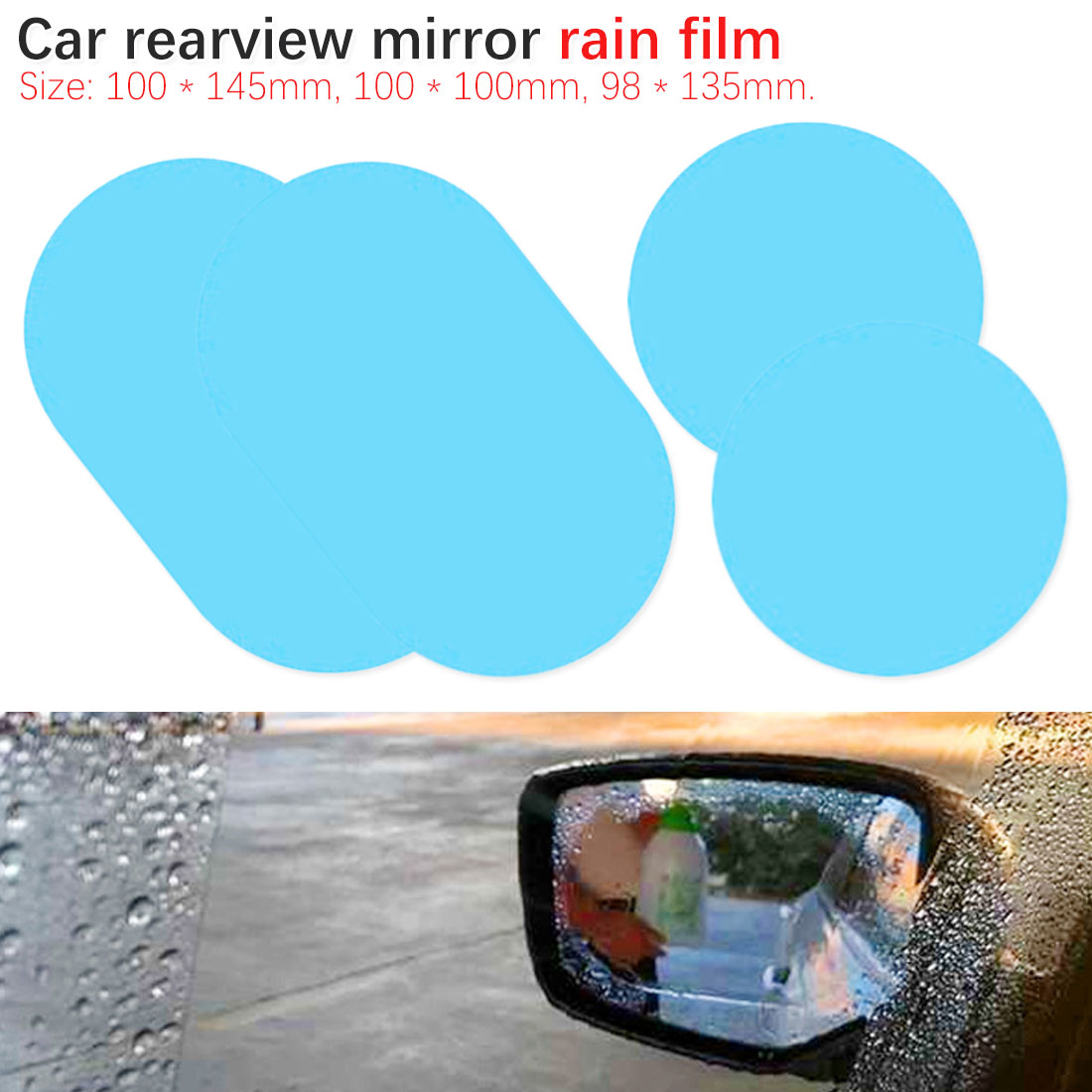 2 Pcs/Set Car Rearview Mirror Rain Film Side Window HD Flooding Film Waterproof Car Sticker Anti-fog Nano Waterproof Film