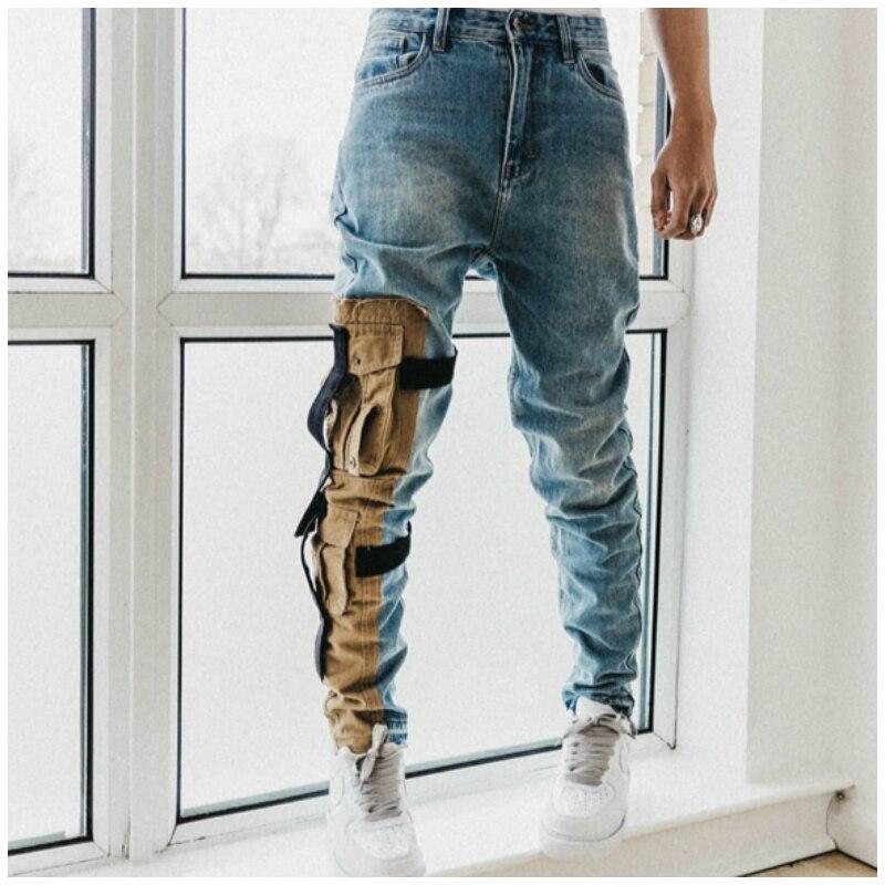 Высокое качество Винтаж потертые узкие Стрейчевые джинсы хаки накладной карман потертостями байкерские джинсы восемь кармашков для уклад...