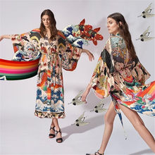 DUISNENA colorful casual robe swimsuit cardigan suntan shirt sexy swimwear bikini cover up beach blouse kimono Kaftan