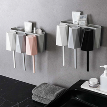Toothpaste Toothbrush Holder with Cups Wall Mounted Storage Rack Bathroom Accessories Set Organizer