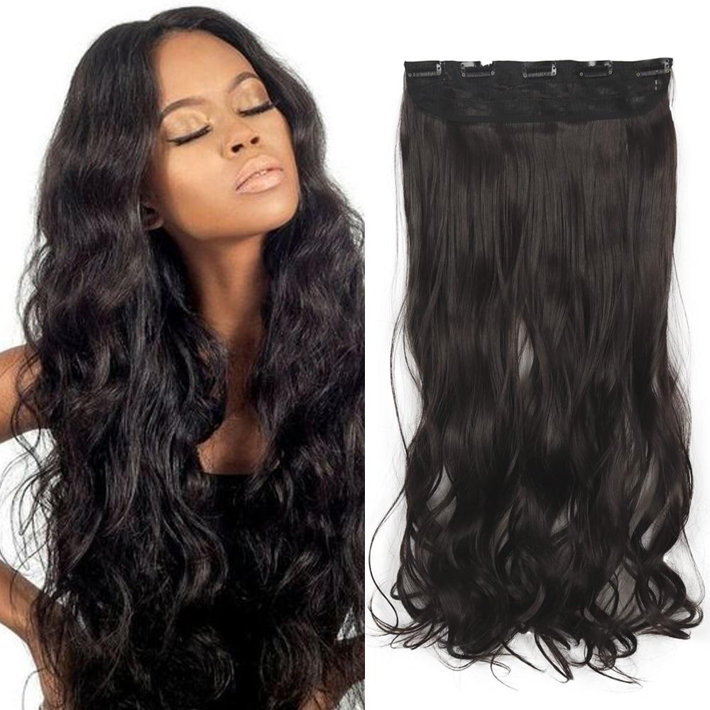 Azqueen 5 grampos de extensões de cabelo sintético onda de água longa grampos em fibra de alta temperatura dourado preto marrom hairpiece