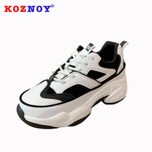 Koznoy Sneakers Women Spring Autumn Fashion Thick Bottom Dropshipping Breathable Cross Tied Ties Lace Leisure Shoes