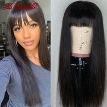 Wigs Bangs Human-Hair Annabelle Natural-Color Full-Machine Straight Brazilian Ali