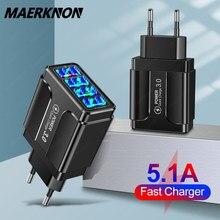 4 portas usb carregador de carga rápida 3.0 4.0 para o iphone 12 11 huawei samsung s9 xiaomi telefone móvel 5.1a 4 portas carregador de parede rápido