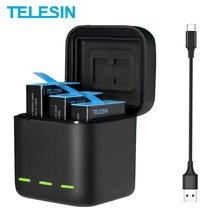 TELESIN – batterie 1750 mAh pour GoPro Hero 9 Black, chargeur de batterie 3 voies avec lumière LED, carte TF, stockage de batterie
