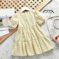 Hot Summer Cute Girls Dress Kids Clothing Lattice Princess Dresses Children Summer Clothes Baby Girls Dress Casual Wear 2 7T