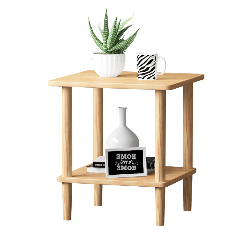 Solid Wood Bedside Table Simple Modern Small Tea Table Square Table Sofa Side Cabinet In Living Room