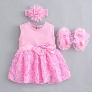Baby Girls Infant newborn Dress Summer Kids wedding Party Birthday Outfits 1-2 years dress headband Shoes Set Christening Gown(China)