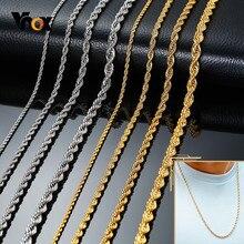 Vnox çeşitli paslanmaz çelik bükülmüş singapur zincir kolye erkekler kadınlar için rahat temel halat bağlantı zinciri gotik Punk takı