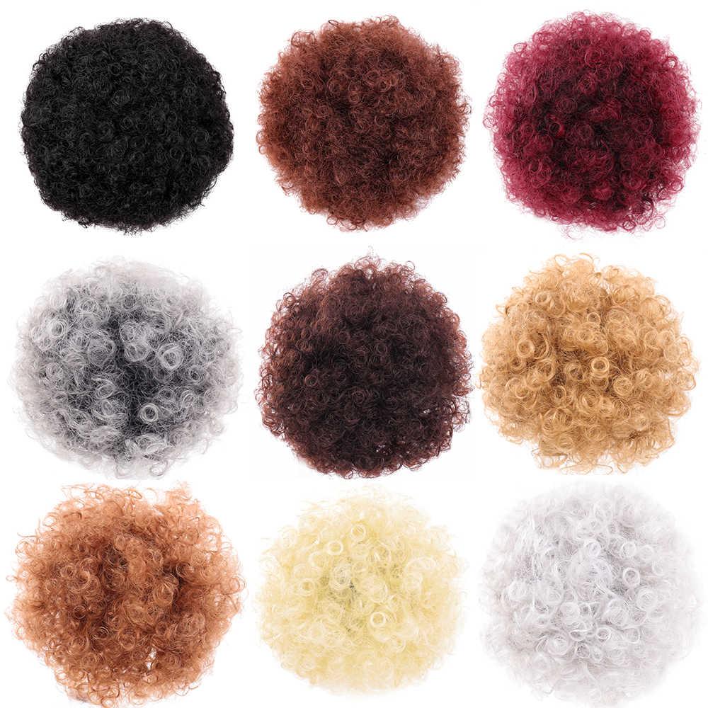 Manweipuff afro encaracolado peruca rabo de cavalo cordão curto afro kinky pônei cauda clip em em extensões de cabelo sintético bun