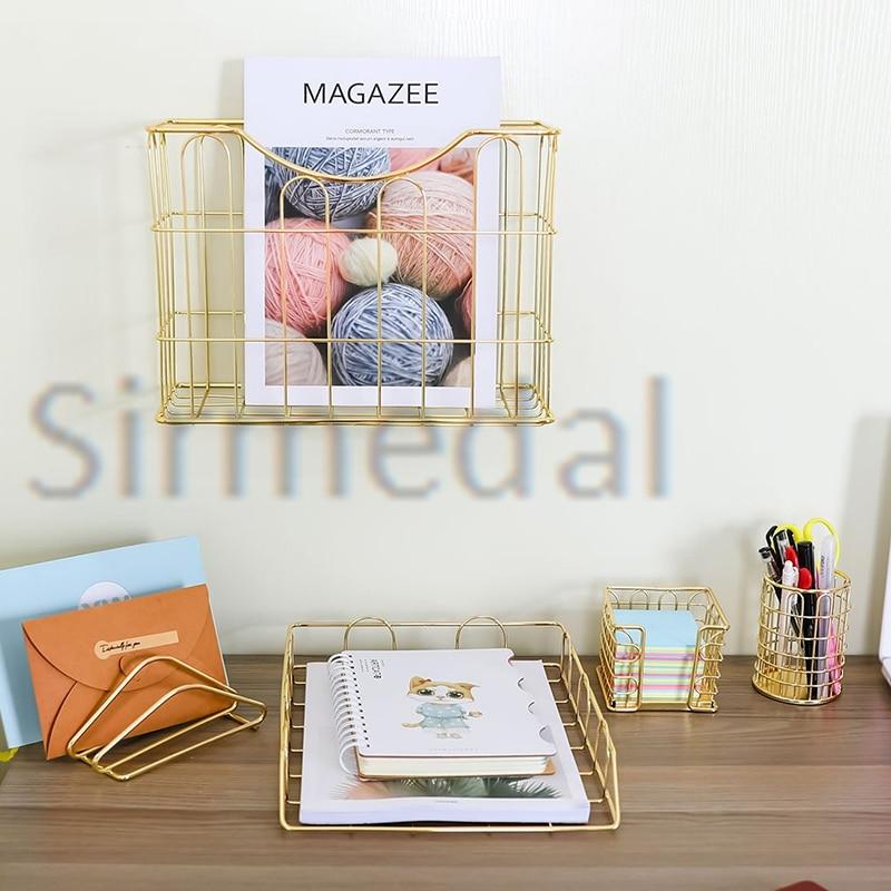 Desk Organizer Set 5pcs Gold Letter Sorter Pencil Holder Stick Holder Hanging File Organizer And Letter Tray For Home Or Office