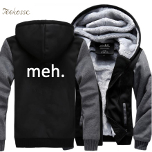 Geek Nerd Meh. Letter Print Hoodie Hoodies Men 2018 Winter Warm Fleece Zipper Hooded Sweatshirt Mens Thick Simple Funny Coat 5XL