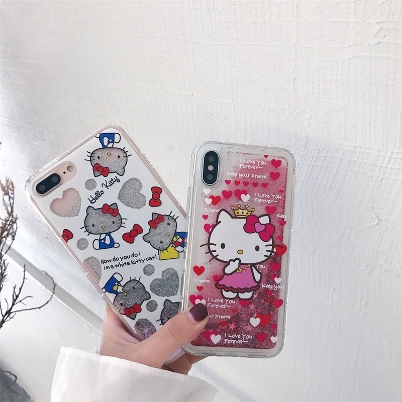 For iphone 11 PRO Max X XS Max XR Cute Cartoon Hello kitty Dynamic Glitter Liquid Quicksand Case For iPhone 6 6S 7 8 Plus SE2