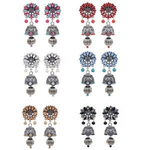 Антикварные традиционные индийские серьги Jhumka для женщин Болливуд свадебные украшения для женщин хрустальные серьги-подвески Афган