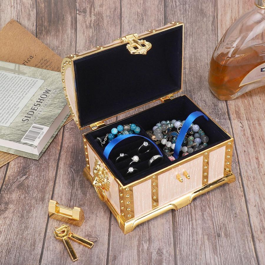 Vintage Embossment Necklace Storage Earring Container Box Jewelry Holder with Lock Home Decoration Wedding Gifts Watch