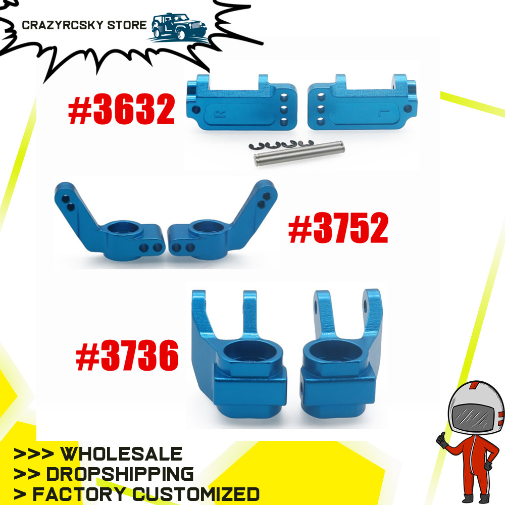 Aluminum Left&Right Steering Blocks Caster Front Hub Caster Stub Axle Carrier 3632 3736 for 1/10 Traxxas Slash 2WD Upgrade Parts